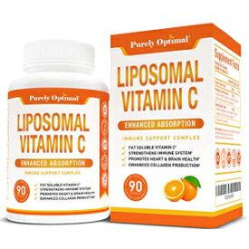 PURELY OPTIMAL Premium Liposomal Vitamin C Supplement - High Absorption, Fat Soluble Ascorbic Acid Vitamin C 1000mg for Immune Support - Collagen & Immune System Booster, Potent Antioxidant - Non-GMO, 90 Capsules