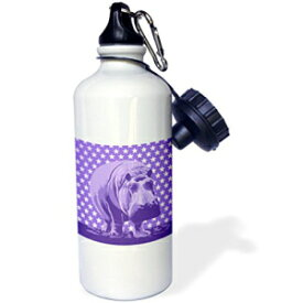 3dRose wb_219295_1 Quirky Hippo Over Purple and White Tonal Stars Pattern Sports Water Bottle, 21oz, Multicolored