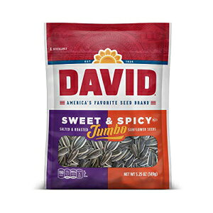 DAVIDのローストと塩味の甘くてスパイシーなジャンボひまわりの種、ケトフレンドリー、5.25オンス、12パック DAVID Seeds DAVID Roasted and Salted Sweet and Spicy Jumbo Sunflower Seeds, Keto Friendly, 5.25 oz, 12 Pack