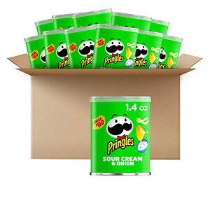 プリングルズポテトチップスチップス-サワークリームとオニオン風味の塩味スナック、ランチフード、シングルサーブ1.4オンス缶(12パック) Pringles Potato Crisps Chips - Sour Cream and Onion Flavored Sa