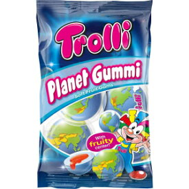 Trolli GmbH 4 Count (Pack of 1), Trolli PLANET GUMMI soft fruit gums with liquid center 1 bag Made in Europe