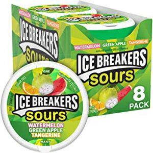 8個入りパック、グリーンアップル、タンジェリン、スイカ、ICE BREAKERSサワーシュガーフリーミント、(スイカ、グリーンアップル、タンジェリン)1.5オンス(8個パック) Visit the Ice Breakers Mi