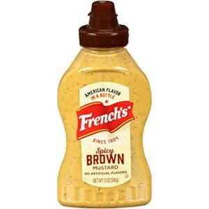 フレンチスパイシーブラウンマスタード、ホットマスタード、ストーングラウンドマスタード、グルテンフリー、12オンス、12パック French's Spicy Brown Mustard, 12 oz (Pack of 12)