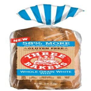 スリーベイカーズグルテンフリー全粒粉ホワイトサンドウィッチパン(3パック)19オンス Three Bakers Gluten Free Whole Grain White Sandwitch Bread (Pack of 3) 19oz