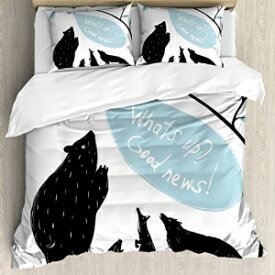 Ambesonne Quirky Duvet Cover Set, Forest Animals Meeting Bird Bringing News to His Friends Happiness, Decorative 3 Piece Bedding Set with 2 Pillow Shams, King Size, Blue White