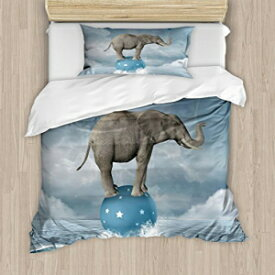Ambesonne Quirky Duvet Cover Set, Elephant with Balloons on The Sea Fish Fantasy Circus Animal Balance Surreal, Decorative 2 Piece Bedding Set with 1 Pillow Sham, Twin Size, White Grey Ambesonne Quirky Duvet Cover Set