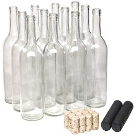 North Mountain Supply 750ml Glass Bordeaux Wine Bottle Flat-Bottomed Cork Finish - with #8 Premium Natural Corks & PVC Shrink Capsules - Case of 12 (Clear Bottles with Black Capsules)