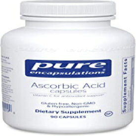 Visit the Pure Encapsulations Store 90 Count (Pack of 1), Standard Packaging, Pure Encapsulations Ascorbic Acid Capsules | Vitamin C Supplement for Antioxidant Defense, Immune Support, and Vascular Integrity* | 90