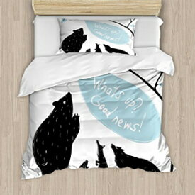 Ambesonne Quirky Duvet Cover Set, Forest Animals Meeting Bird Bringing News to His Friends Happiness, Decorative 2 Piece Bedding Set with 1 Pillow Sham, Twin Size, Blue White