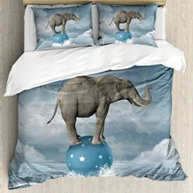 Ambesonne Quirky Duvet Cover Set, Elephant with Balloons on The Sea Fish Fantasy Circus Animal Balance Surreal, Decorative 3 Piece Bedding Set with 2 Pillow Shams, Queen Size, White Grey Ambesonne Quirky Duvet Cover S