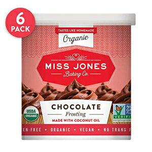 ミス・ジョーンズ・ベーキング・オーガニック・バタークリーム・フロスティング、アイシングとデコレーションに最適、ビーガンフレンドリー:リッチファッジチョコレート(6個入りパッ