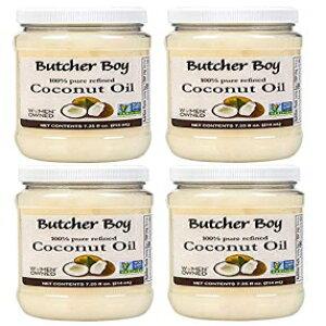 肉屋の少年ココナッツオイル  100%ピュアリファイン  7.25液量オンス  4パック Butcher Boy Coconut Oil   100% Pure Refined   7.25 fl oz   4 Pack