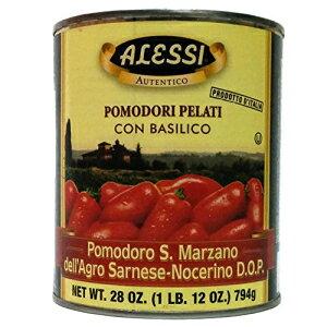 アレッシィDOPホールピールサンマルツァーノトマト、バジル、28オンス(12パック) Alessi DOP Whole Peeled San Marzano Tomatoes with Basil, 28 Ounce (Pack of 12)