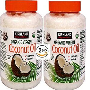 カークランドシグネチャーコールドプレス未精製オーガニックバージンココナッツオイル(2本-各84オンス) Kirkland Signature Cold Pressed Unrefined Organic Virgin Coconut Oil (2 Bottles - 84 OZ Each)