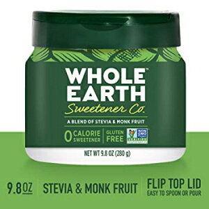 WHOLE EARTH SWEETENER CO。ステビア&モンクフルーツブレンド、エリスリトール甘味料、砂糖代替品、天然甘味料、9.8オンスジャー WHOLE EARTH SWEETENER CO. Stevia & Monk Fruit Blend, Erythritol Sweetener, Sugar Substi
