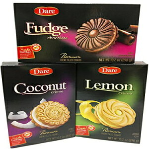 あえてクッキーの品揃え-ファッジ、ココナッツ、レモン-プレミアムクリーム入りクッキー Dare Cookie Assortment - Fudge, Coconut and Lemon - Premium Creme Filled Cookies