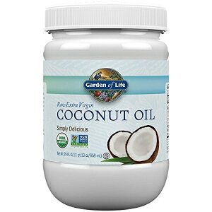 Garden of Lifeオーガニックエクストラバージンココナッツオイル-髪、肌、料理用の精製されていないコールドプレスココナッツオイル、29オンス Garden of Life Organic Extra Virgin Coconut Oil - Unrefined Cold