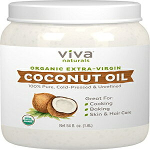 Viva Naturalsオーガニックエクストラヴァージンココナッツオイル(54オンス)-非遺伝子組み換え型コールドプレス Viva Labs Viva Naturals Organic Extra Virgin Coconut Oil (54 Oz) - Non-Gmo Cold Pressed