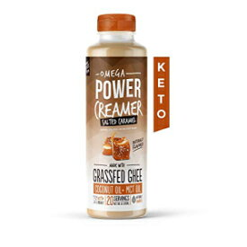 オメガパワークリーマー-塩キャラメルケトコーヒークリーマー-グラスフェッドギー、MCTオイル、オーガニックココナッツオイル、ステビア-リキッドバターブレンド-パレオ、ケトジェニック、ゼロカーブ、シュガーフリー、10液量オンス(20人前) Omega PowerCreamer - Salt