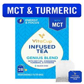 VitaCupジーニアスブレンドインフューズドティー28カラット|ケト|パレオ|ホール30 | MCT、シナモン、ターメリック、ビタミンを含むチャイ紅茶は、集中力、新陳代謝、エネルギーを高めるのに役立ちます VitaCup Genius Blend Infused Tea 28 ct |Keto|Paleo|