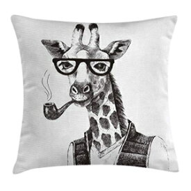 """Ambesonne Quirky Throw Pillow Cushion Cover, Giraffe Smoking Pipe Dressed up Zoo Animal Fun Hipster Style Drawing, Decorative Square Accent Pillow Case, 16"""" X 16"""", Charcoal Grey"""