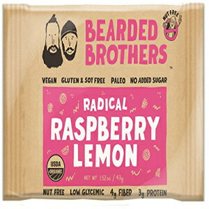 ひげを生やしたブラザーズラジカルラズベリーレモンエナジーバー生、ビーガン、グルテン&大豆フリー、非遺伝子組み換え、エナジーバー、1.52オンス、12ピース Bearded Brothers Radical Raspberry L