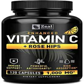 Zeal Naturals Vitamin C 1000mg with Rosehips (120 Capsules | 1000mg) Pure Vitamin C Capsules - Ascorbic Acid + Rose Hips for Powerful Immune System Booster - High Dose Vitamin C for Adults Immune Support Vitamins