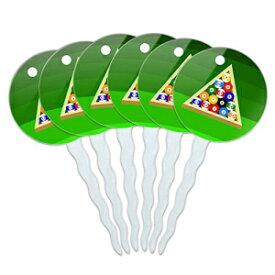 6つのカップケーキピックトッパー装飾スポーツと趣味のセット-ビリヤードボールとトライアングルビリヤード台 Graphics and More Set of 6 Cupcake Picks Toppers Decoration Sports and Hobbies - Billiard Balls and Triangle Pool Table