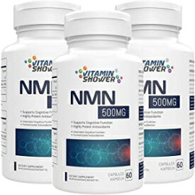 Vitamin Shower 180 Capsules, Pack of 3, NMN Supplement Nicotinamide Mononucleotide   500mg   60 Capsules Per Bottle   NAD Boosters   Anti Aging Supplements for Cellular Repair & Energy (180 Capsules, Pack of 3