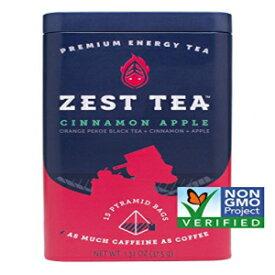 ゼストティープレミアムエナジーホットティー、高カフェインブレンドナチュラル&ヘルシートラディショナルコーヒー代用品、ケトに最適、1食あたり150mgのカフェイン、アップルシナモン紅茶、30個のサシェバッグの缶 Zest Tea Premium Energy Hot Tea, High Caffein