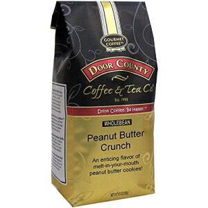 ドアカウンティコーヒー、ピーナッツバタークランチ、フレーバーコーヒー、ミディアムロースト、ホールビーンコーヒー、10オンスバッグ Door County Coffee & Tea Co. Door County Coffee, Peanut Butter Crun