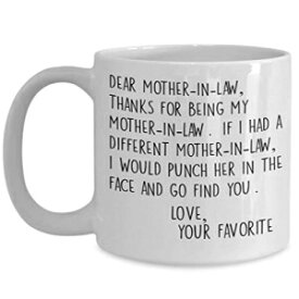 The Improper Mug Dear Mother In Law Mug - 11 or 15 oz Best Inappropriate Snarky Sarcastic Coffee Comment Tea Cup With Funny Sayings, Hilarious Unusual Quirky Gag Gift