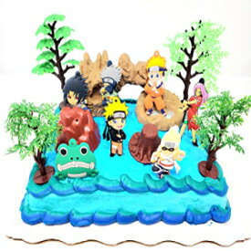 Birthday Celebrations Naruto Cake Topper Set Featuring Naruto and Friends with Themed Accessories