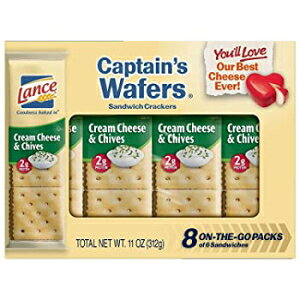 Lance Sandwich Crackers, Captain's Wafers Cream Cheese and Chives, 8 Ct Box