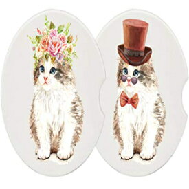 NaNa AIRFISH Set of 2 Cute Cat Car Coasters Absorbent Ceramic Auto Coasters Car Accessories for Cup Holder Drinks, Car Cup Holder Protector, 2.56 Inch