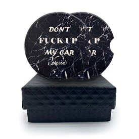 NaNa AIRFISH 2 Pack Funny Car Coasters Absorbent Ceramic for Cup Holder Drinks to Absorb Spills & Protect the Car Cup Holder, 2.56 Inch, Black Marble Print