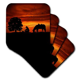 3dRose CST_173217_1 Cowboy Campfire with Horse on A Hill at Sunset Has A Western Feel. Soft Coasters, (Set of 4)
