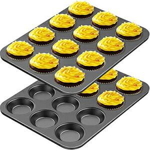 CHEFMADE 12カップマフィンパンセット、2パック耐熱皿ノンスティックカップケーキベーキングパンヘビーデューティー炭素鋼パンマフィン缶ケーキ用標準ベーキングモールド CHEFMADE 12 Cups Muffin