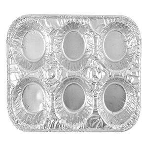 20パックマフィンパン使い捨てアルミホイル6カップ標準サイズの缶、カップケーキ、ミニパイ、キッシュ、スフレを焼く Just Partyware 20-Pack Muffin Pans Disposable Aluminum Foil 6-Cup Standard Size Tin for Bakin