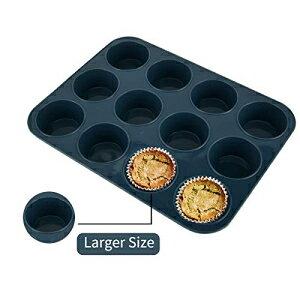 大型シリコンマフィンベーキングパン&カップケーキトレイ12カップ-焦げ付き防止ケーキ型/缶、シリコン耐熱皿、BPAフリー、食器洗い機&電子レンジセーフ(グレー) Vnray Large Silicone Muffin B