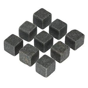 ウイスキース??トーンギフトセット9個の花崗岩ウイスキーロックバッグ再利用可能な冷却アイスキューブスコッチと冷たい飲み物を冷やす|エレガントに梱包 YOU+ Whiskey Stones Gift Set w/ 9 Granit