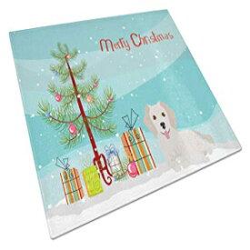 キャロラインの宝物CK3510LCB小さなギリシャの飼い犬ココニ#2クリスマスツリーガラスまな板大、12H x 16W、マルチカラー Caroline's Treasures CK3510LCB Small Greek Domestic Dog Kokoni #2 Christmas Tree Glass Cutting Board Large, 12H x 16W