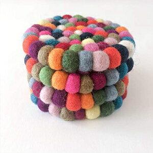 Bodhiartistryマルチカラーオーガニックフェルトウールボールコースター-4個セット Bodhiartistry Multicolor Organic Felt Wool Ball Coaster- Set of 4