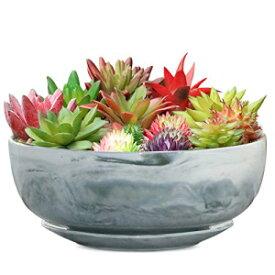 G EPGardening8inマーブルパターンラージラウンドジューシープランターポットモダンフラワーポットマーブルトレイ付き屋内および屋外プランター G EPGardening 8in Marble Pattern Large Round Succulent Planter Pot Modern Flower Pot Indoor and Outdoor