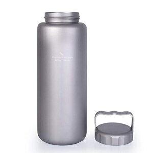 iBasingo 1050ml / 35.5オンスハンドル付きチタンウォーターボトル屋外漏れ防止広口スポーツ飲用ボトルキャンプティーコーヒー食堂ケトルハイキング用ハイキングクライミングランニングTi1506I i