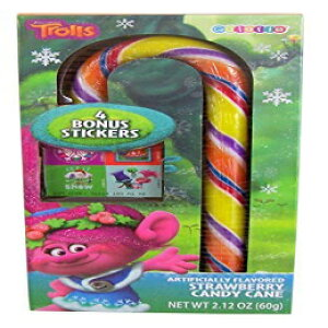 Dreamworks Trollsキャンディケーンステッカー付きギフトセット、2.12オンス、12個入りパック Trolls Christmas Dreamworks Trolls Candy Cane with Stickers Gift Set, 2.12 oz, Pack of 12