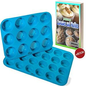 シリコンマフィン&カップケーキベーキングパンセット(12&24ミニカップサイズ)-ノンスティック、BPAフリー&食器洗い機セーフシリコンベーキングパン/缶-ブルートップホームキッチンラ