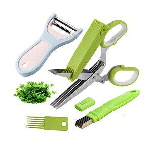 ハーブはさみ-5つのステンレス鋼の刃、安全カバー、クリーニングコーム、ネギカッター、野菜の皮むき器キッチンガジェットツールを備えた多目的キッチンカッティングシアー DEJUN Herb Sciss