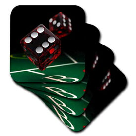 3dRose CST_159458_2 Craps Dice in Mid-Air Roll Rolling Table Gamble Gambling Casino Soft Coaster (Set of 8)
