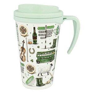 ハンドル付きアイルランド白と緑のトラベルカップの印象 Carrolls Irish Gifts Impressions Of Ireland White And Green Travel Cup With Handle